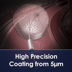 Low Profile Coating for Cardiovascular Implants such as Embolic Protection Devices
