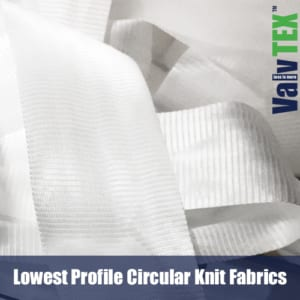 Lowest Profile Circular knit textiles for implantable frames