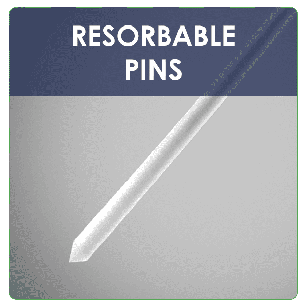 Custom design and development of high-strength resorbable pins